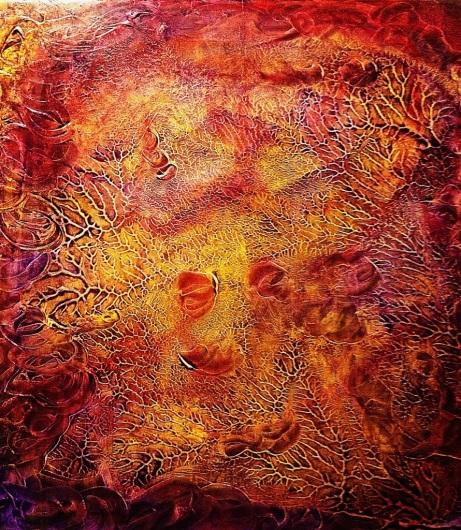 """Happiness"" by Benjamin Prewitt 24″ x 24″  Mixed media: oil, ink, Acrylic"