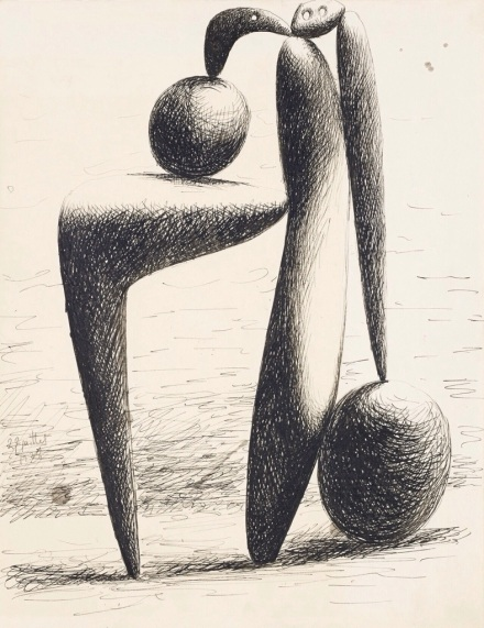 Ink drawing done by Picasso